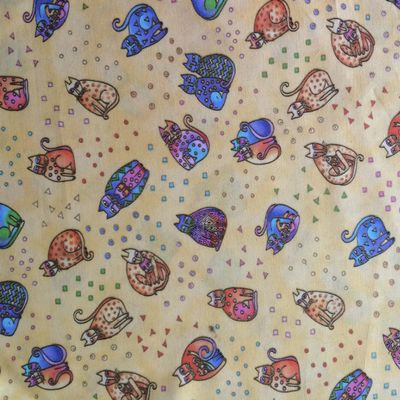 Yellow LAUREL BURCH cat fabric by the yard, Fanciful Felines
