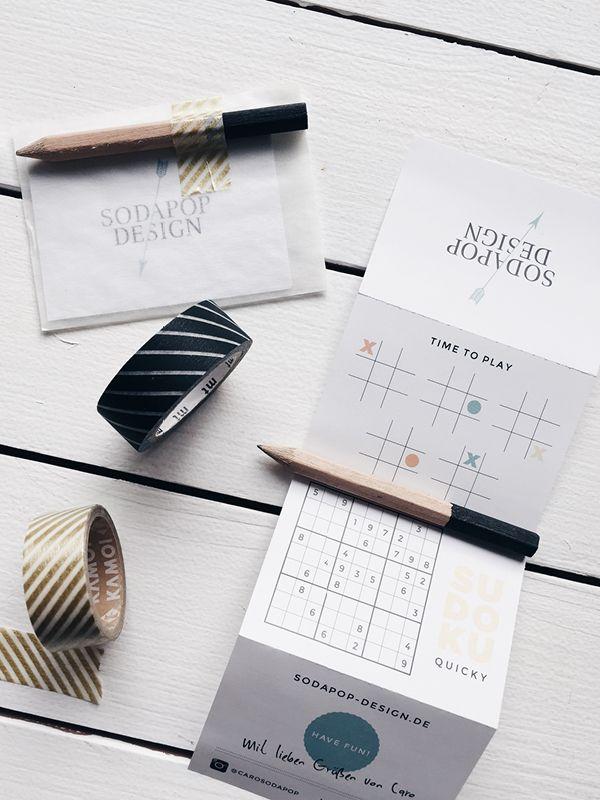business cards, handmade, sudoku, to-do list, masking-tape