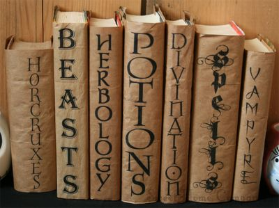 These are so much fun! Great for Harry Potter fans, Halloween decor, and back to school book covers! Until Wednesday Calls: How To: Harry Potter Text Book Covers