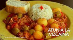 Receta de Atún a la Vizcaína. El bacalao a la vizcaína es una receta tradicional de las fiestas decembrinas. A veces el precio está un poco elevado y lo podríamos sustituir por atún, es lo que h…