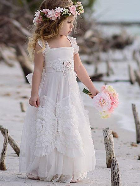 83d44f4c96 Princess A-line bijela haljina s cvjetnim djevojkom. Princess A-line White  Long Boho Flower Girl Dress ...