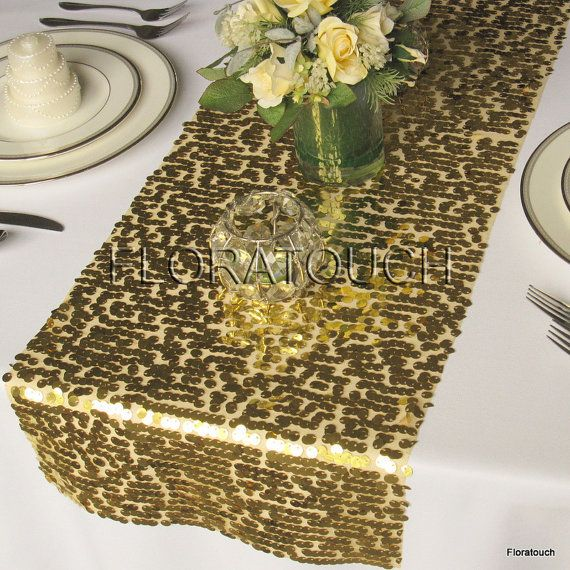 Gold Sparkling Sequin Table Runner Wedding Table Runner - More colors available also on Etsy, $12.00