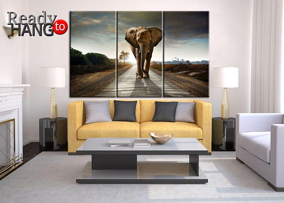 Elephant Art Canvas Picture African Sunset
