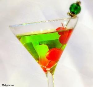 Happy Elf Cocktail--  1 ounce melon liqueur (such as Midori)  2 ounces citrus vodka (such as Absolut Citron)  1 ounce white cranberry juice  Maraschino cherries, for garnish by amyl802