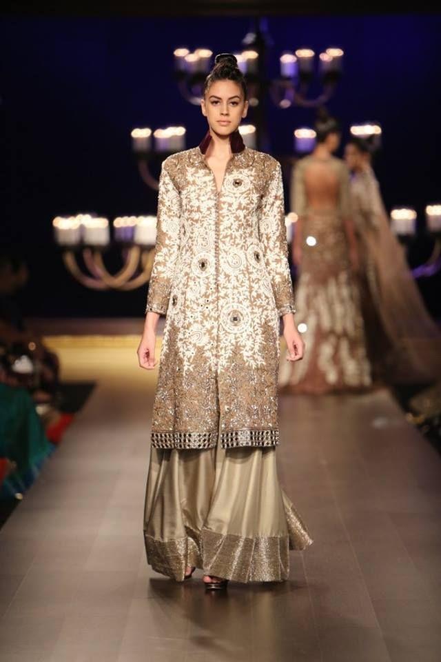Manish Malhotra at India Couture Week 2014 - long jacket lehenga