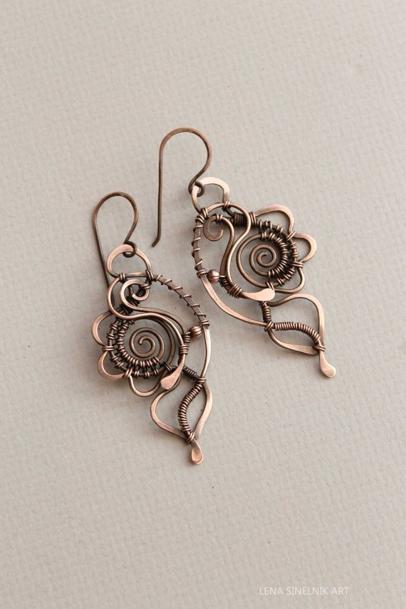 Wire wrap earrings, copper earrings by wanting