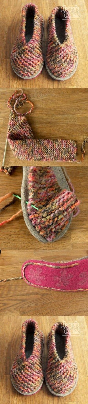 Idea:  double the soles so the bottom yarn doesn't wear out.  More stitches on the fronts fewer at the back