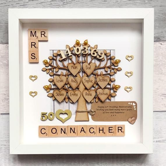 Golden Wedding Anniversary Gift And Family Tree 50th Wedding Anniversary Family Tree Parents Anniversary Gift Scrabble Wall Art 50th Wedding Anniversary Golden Wedding Anniversary Gifts 50th Anniversary Gifts