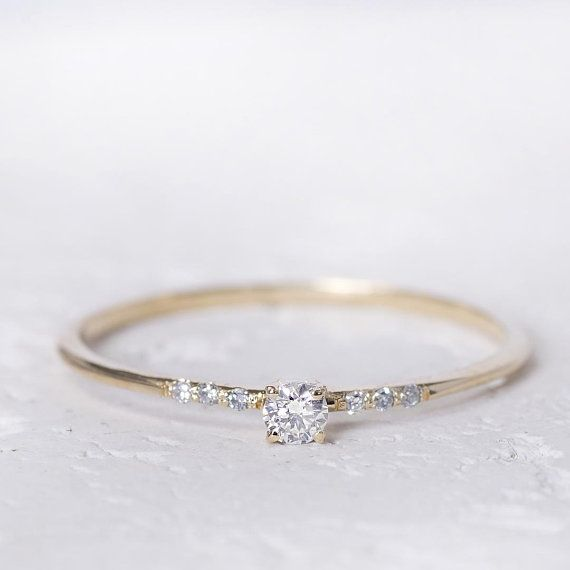 14K Gold Engagement Ring, Diamond Engagement Ring, Wedding Bands Women, Engagement Ring for Women, Wedding Band Women, Diamond Delicate Ring