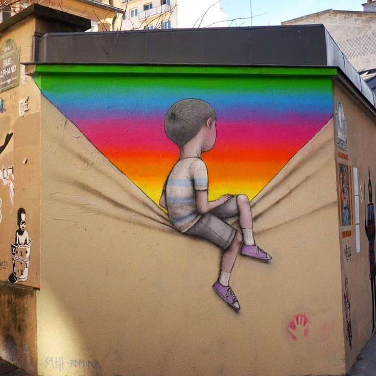 Walking on a Dream: Murals of People Staring into Portals of Color by Seth Globepainter