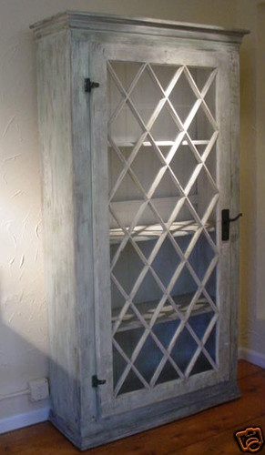 Repurposed and Assembled Antique Glass Diamond Door Wood Armoire Cabinet