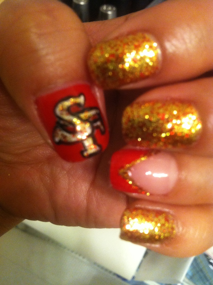 DIY sports nails #sportsnails #nflnails #49ers