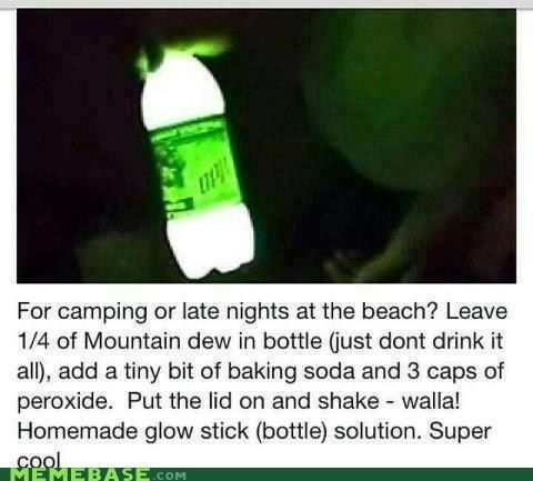 Homemade Glow Stick--1/4 bottle Mountain Dew, a tiny bit of baking soda and 3 caps peroxide. Put the lid on and shake!