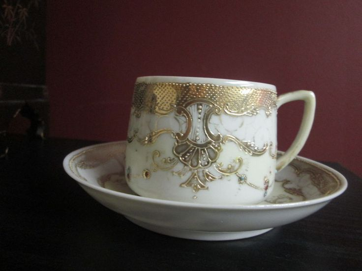 Nippon SIGNED Egg Shell CHINA GOLD JEWELED BEADED TEA CUP & SAUCER c 1900 As Is! #SignedHandPaintedNippon #Jeweled