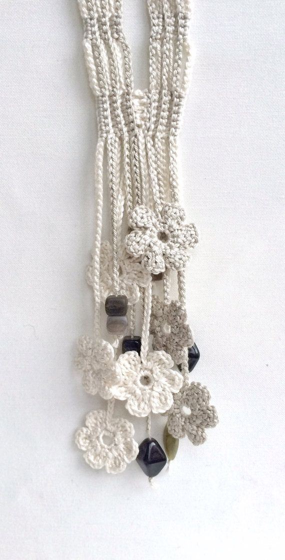 Limestone and cream flowers long beaded by GabyCrochetCrafts