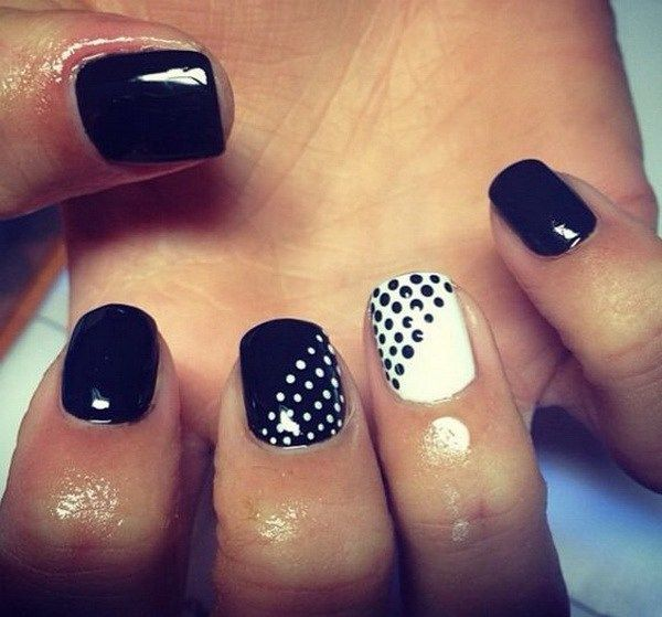 Black and White Nail Design with Dots.
