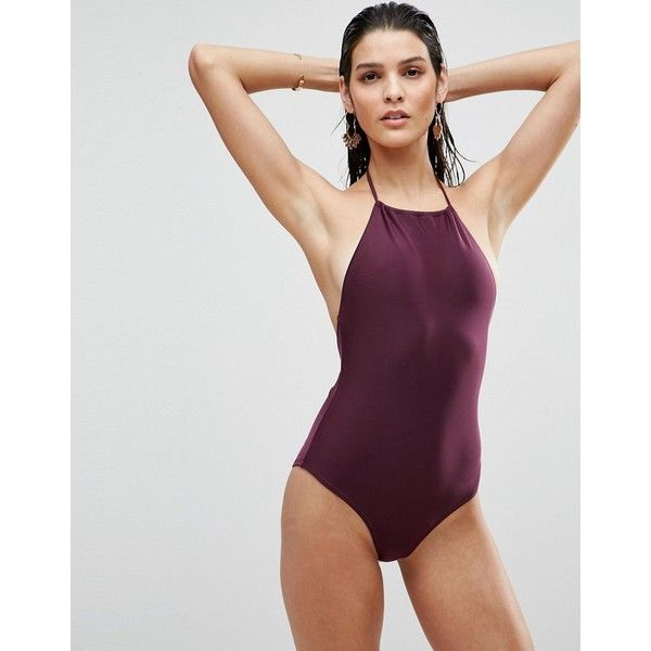 ASOS Halter Swimsuit ($30) ❤ liked on Polyvore featuring swimwear, one-piece swimsuits, purple, halter swimsuit tops, purple swimsuit, halter one piece swimsuit, purple one piece swimsuit and halter top