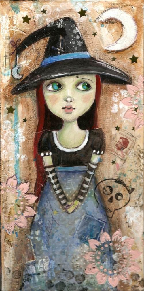 Love!  Witch Halloween Original Mixed media painting 6 by pinkglitterfae, $60.00