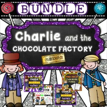 Character Traits Bundle Pack - Charlie and the Chocolate Factory - Buy now and save. This bundle includes four fun and engaging products combined into one. It consists of task cards, printables, cut and paste activities and word wall cards. This pack is sure to engage your students and assist your kiddos to cement their understanding about character traits.