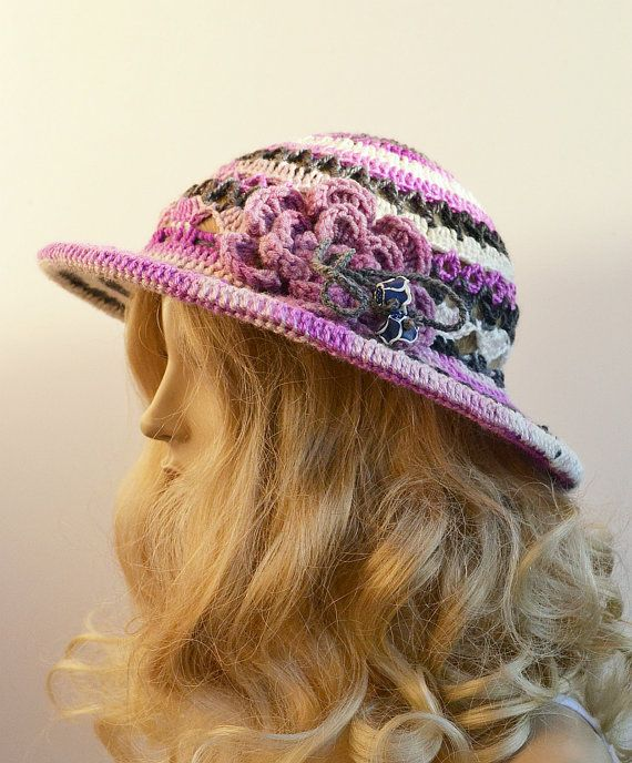 Women Slouchy Hat COTTON  Cute Crochet Summer Hat aWeSomE, #WomenSlouchyHat,  #CrochetSummerHat, #summerhat, #pinkviolethat