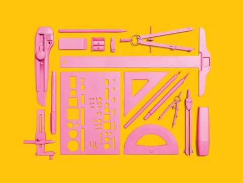 """A graphic done by Dwell magazine in response to """"Architect Barbie,"""" a doll that hit toy stores in 2010. The picture makes me wonder....If drafting tools were sold in pink, would our society finally realize that woman are more capable than only cooking and cleaning their dream homes?"""