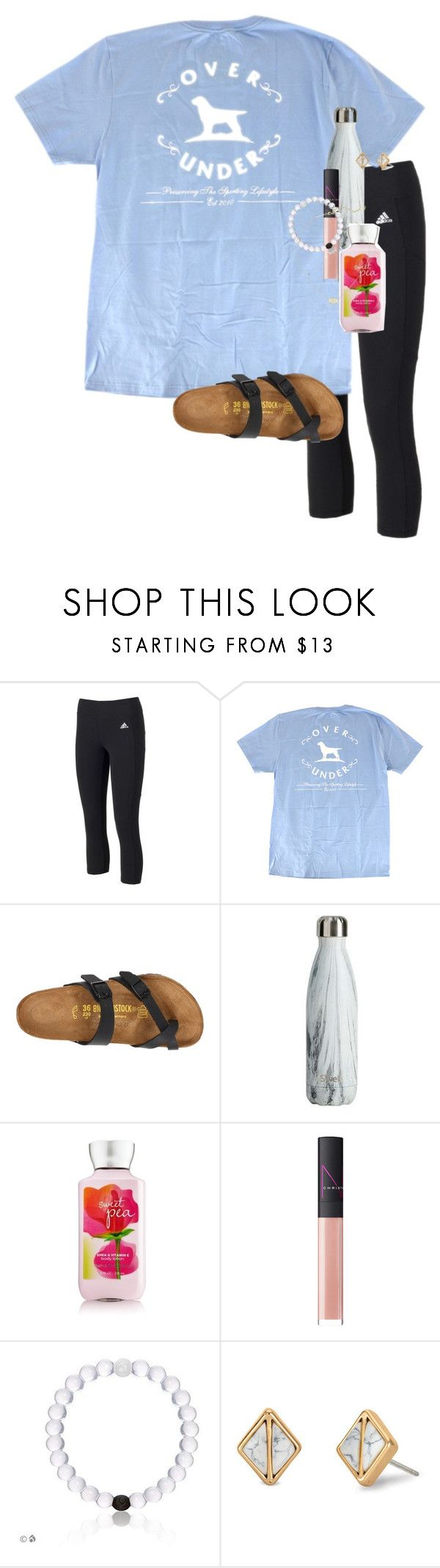 """""""This outfit is eh"""" by erinlmarkel ❤ liked on Polyvore featuring adidas, Birkenstock, NARS Cosmetics, Stella & Dot and Kendra Scott"""