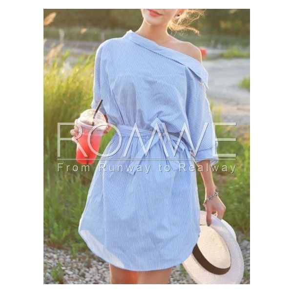 Blue Half Sleeve Off The Shoulder Striped Dress ($17) ❤ liked on Polyvore featuring dresses, elbow length sleeve dresses, blue off the shoulder dress, blue day dress, off the shoulder dress and off shoulder dress