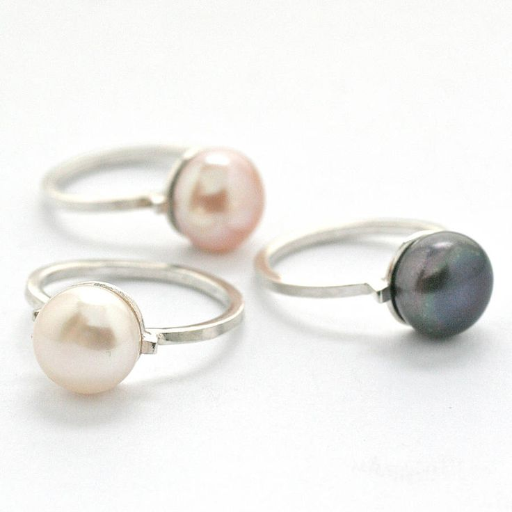 silver deco pearl solitaire ring by louy magroos | notonthehighstreet.com