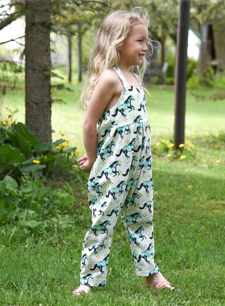 Handmade Horses jumpsuit Green acid and cream colors baby and toddler 0-6 www.lezalie.com canadian store