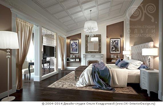 Спальня в мансарде загородного дома - http://www.ok-interiordesign.ru/ph32_house_cottage_interior_design.php