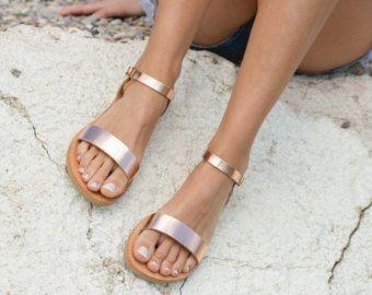 Sandalen, griechische Sandalen, Ankle Strap Sandalen, Sandalen aus Leder, elegante Sandalen, Sandalen, Damenschuhe, gestrichenes, APHRODITE