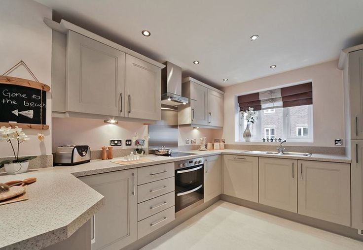 Mello Mocha by Dulux in a kitchen design in the Midlands - it's in the same house at the previous bedroom :) Beautiful white wood flooring and shaker / french kitchen dining room idea