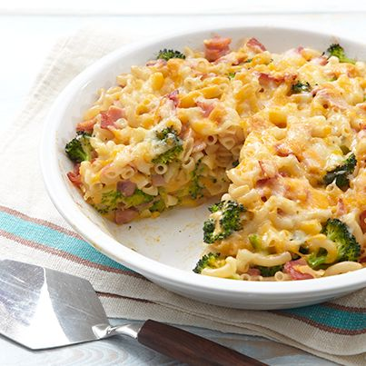 Mac & Cheese Pie ~ Ingredients: 1 pkg. Deluxe Mac & Cheese Dinner... 2 cups broccoli florets.. 4 eggs... 1 pkg. Smoked Ham.. 1/2 cup Shredded Cheddar & Monterey Jack Cheeses ~ Heat oven to 350°F... Cook Mac in large saucepan as directed, adding broccoli to the boiling water for 2 min.; drain... Beat eggs in bowl; stir in Cheese Sauce. Add to Mac with ham; mix well. Spoon into 9-inch pie plate; top with shredded cheese... Bake 30 min. or until mixture is set in center and top is golden brown.