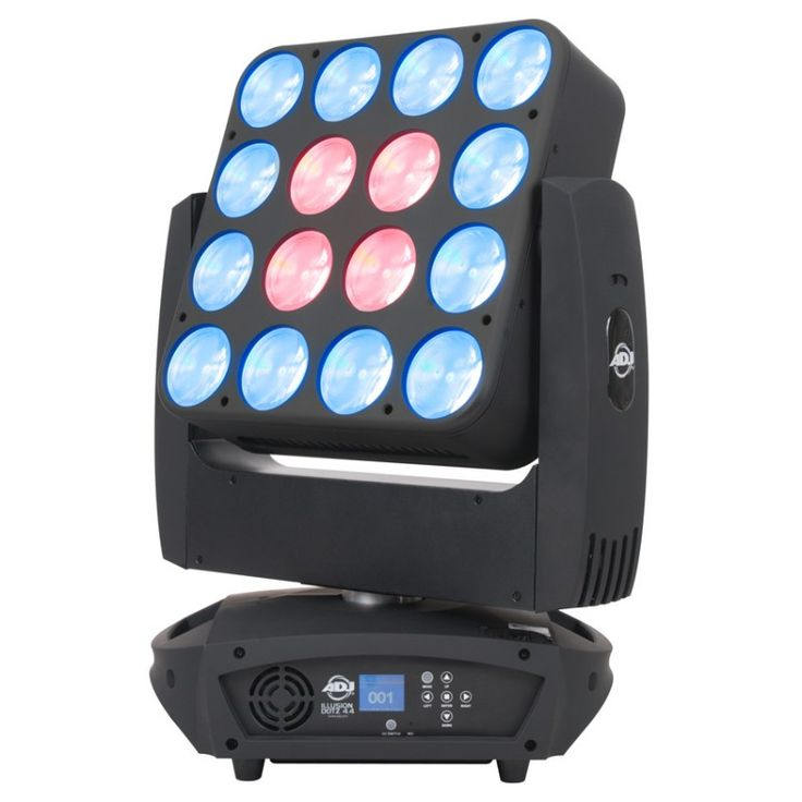 ADJ Illusion Dotz 4.4 Take your light show to a new dimension with the ADJ Illusion Dotz 4.4, a Moving Head wash fixture with sixteen 30W Chip On Board (COB) pixel controllable TRI LEDs. Its 360/540-degree pan and 270-degree tilt allow for the beams of light to move and spin, creating added excitement to any lightshow.