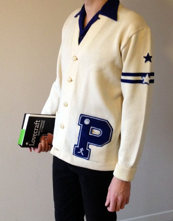 1950s White And Blue Vintage Letterman Sweater Cardigan M