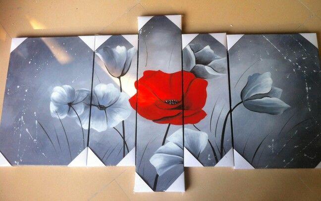 Tableau fleurs peint main sur tableaux-online.com