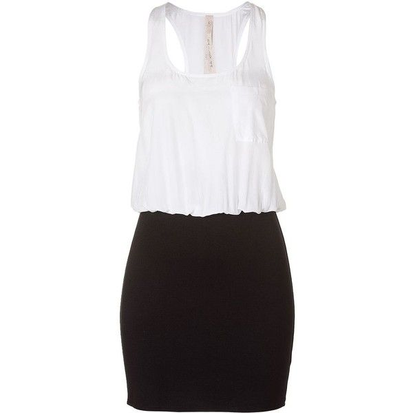 BAILEY 44 Two-Tone Combo Dress ($47) ❤ liked on Polyvore featuring dresses, vestidos, robes, sexy going out dresses, sexy night out dresses, holiday party dresses, white going out dresses and white colorblock dress