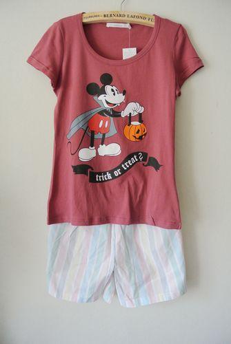 Внешняя торговля оригинальный одного Микки чертенок футболки рукава полосатые шорты домашних новый короткими рукавами жилет женский специаль ...
