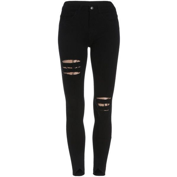 Ripped Skinny Denim Pant (£8.94) ❤ liked on Polyvore featuring jeans, pants, bottoms, calças, jeans/pants, black, ripped jeans, black distressed jeans, stretch skinny jeans and skinny jeans