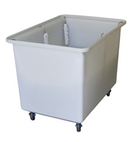 RISING-BASE TROLLEY  - Safe transport and storage of full linen bags  - Spring-loaded rising base with stainless steel hooks  - Large polyurethane wheels   - Ergonomic Height   - Lightweight & durable Plastic Moulded Body   - Available in white, blue, red, green or black  - Cover and optional push handle available - 350 Litre - 790(h) x 700(w) x 1000(l)