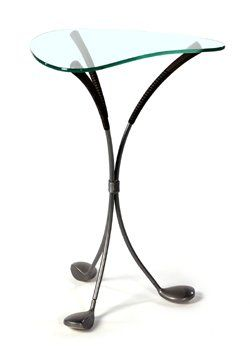 Golf Furniture Side Table With Green Shaped Gl