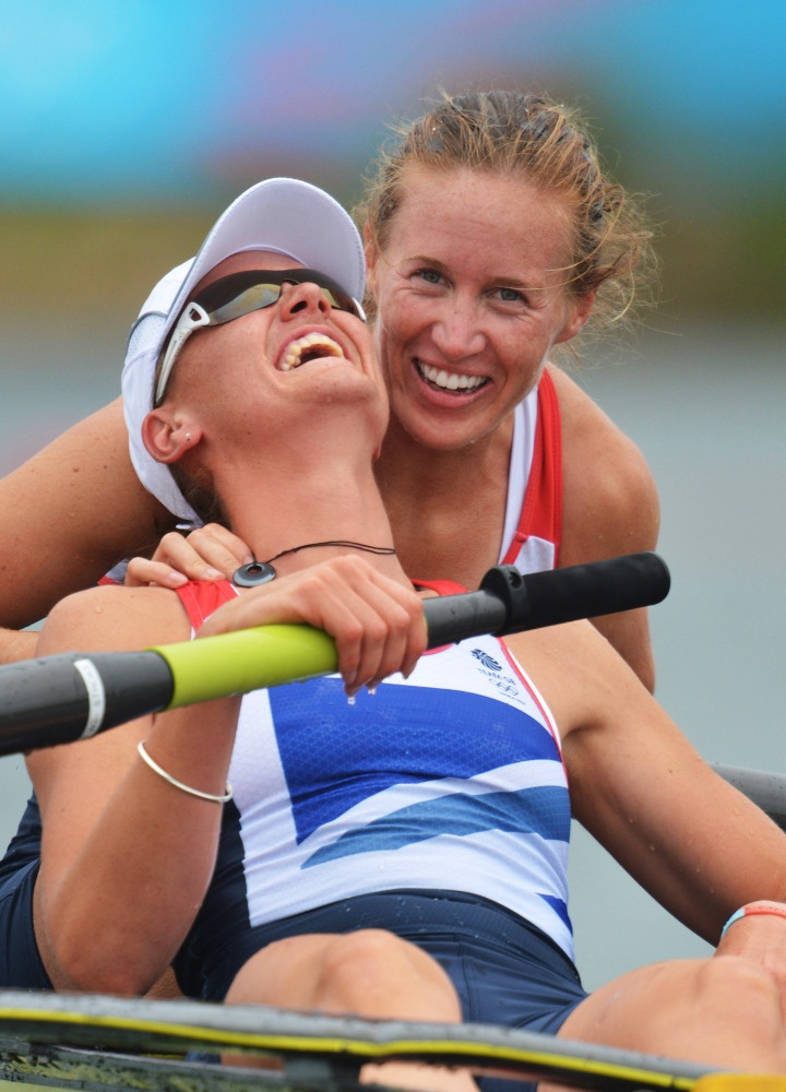 Great Britain's Heather Stanning, left, and Helen Glover celebrate after winning the gold medal for the women's rowing pair in Eton Dorney, near Windsor, England, at the 2012 Summer Olympics, Wednesday, Aug. 1, 2012.