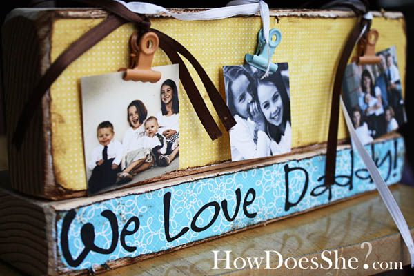 DIY We love Daddy {grandpa} 2x4 picture holder for Father's Day