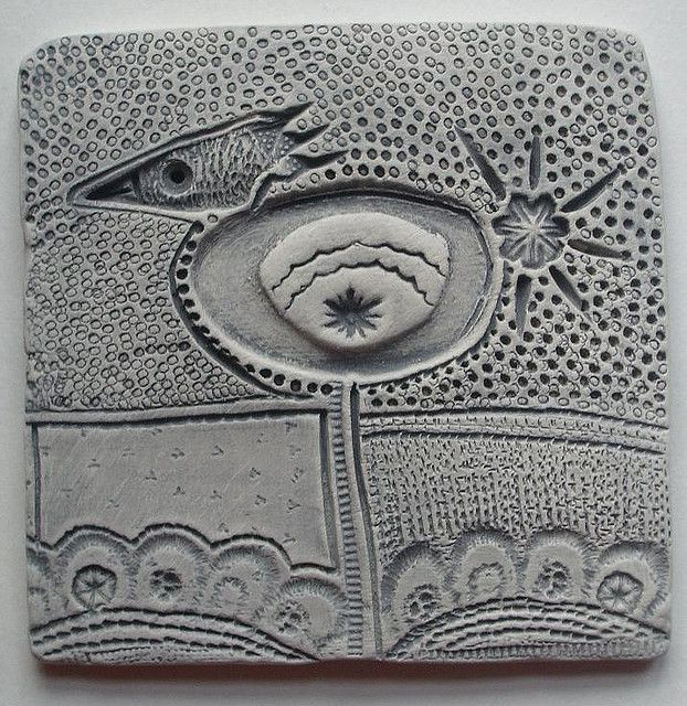"Highland Fairy on Flickr ""  new work ~ small clay tile    I've been working on some small clay pieces to go in frames.  This one is unfired, and will be black and white when finished.  It measures 9 x 9 cms"""