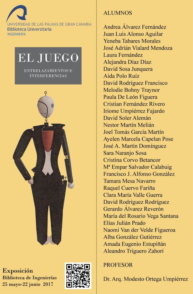 Marcápaginas de la exposición El juego: entrelazamientos e interferencias organizada por la Biblioteca de Ingeniería.