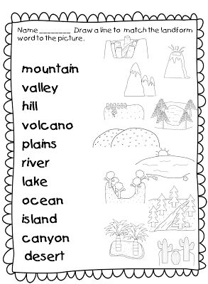 Worksheets Landforms And Bodies Of Water Worksheets this landforms worksheets allows students to match the names of with correct picture pinterest socia