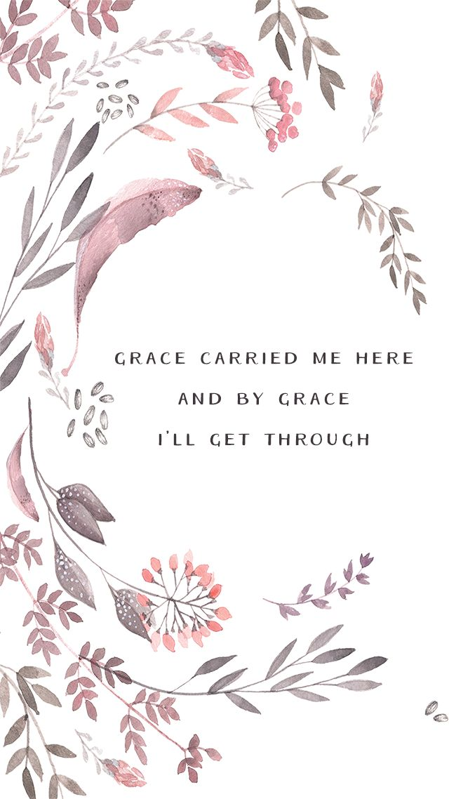 Pink illustrated watercolour floral Grace iphone wallpaper phone background lock screen