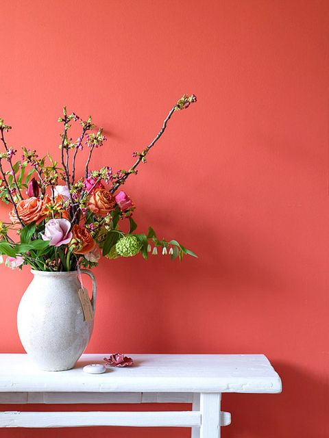 Yummy coral wall - how fantastic?! Let's all paint a room terra cotta salmon pink!  I love flowers... and I really love displaying them in creative containers like vintage pitchers and urns.  @KimTimmerman is awesome.