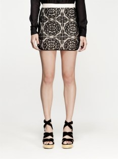 Nookie shanghai lovers skirt black lace blush trim $149 | threads and style