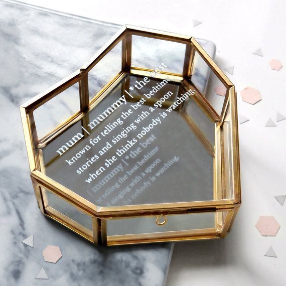 Mum Definition Jewellery Box, Glass Heart Jewelry Box, Glass Jewellery Box, Heart Box, Mothers Day Gift, Gift For Mom, Personalised Box